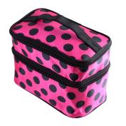 Yesurprise Pro Pink Black Dot Pattern Portable Mirror Cosmetic Makeup Hand Case Bag