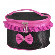 Travel Fuchsia Black Dotted Portable Mirror Cosmetic Make up Hand Case Bag