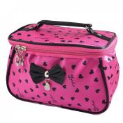 Women Heart Print Bowknot Decor Zipper Travel Cosmetic Bag Purse Fuchsia