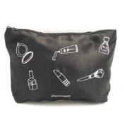 Amelie Embroidered Satin Amelie Make-Up Cosmetic Bag, Black