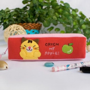 [Catch My Apple] Embroidered Applique Pencil Pouch Bag / Cosmetic Bag / Carrying Case