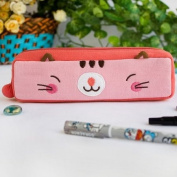 [Pinky Kitten] Embroidered Applique Pencil Pouch Bag / Cosmetic Bag / Carrying Case