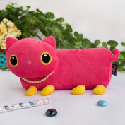 [Pink Kitty] Large Plush Gadget Pencil Pouch Bag / Cosmetic Bag / Carrying Case