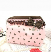 Hearts and Lace Wired Cosmetic Bag Pink