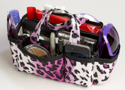3-6 Days Delivery- Lexie Purple Leopard Print Handbag Travel Cosmetic Make-Up Bag Purse Tote Organiser Insert Dimensions