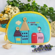 [A Windy Day] Embroidered Applique Cosmetic Bag / Camera bag / Hand Purse Wallet