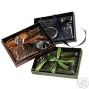Make Up Brush and Cosmetic Bag 5 Pc. Beauty Gift Set Black Croc Design