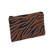 Kingsley Travel Cosmetic Bag, Ugandan Bark Wood Large Zipper