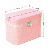 Yesurprise Portable Pink Fashion Snake Skin Cosmetic Makeup Beauty Hand Case Toiletry Bag