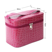Yesurprise Portable Purple Snake Skin Cosmetic Makeup Beauty Case Purse Toiletry Bag Gift