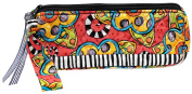 Caffco International Jennifer Jangles Fabric Cosmetic Brush/Pencil Bag, Black Stripe Multi Flower