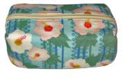 Floral Blue Japanese Kimono Print Chirimen Cosmetic Pouch