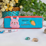 [Catch My Carrot] Embroidered Applique Pencil Pouch Bag / Cosmetic Bag / Carrying Case