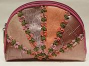 Genuine Leather Flower Make up Bag