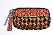 Caffco International Jennifer Jangles Fabric Cosmetic Bag, Black and Orange Flower