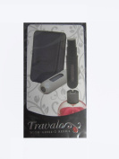 Travalo Take 2 Black leather Case with Excel 5ml Black and Silver Atomiser Bottles