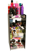 Cosmetic Organiser Tower...61cm Tall! with 4 Crystal Clear Thick Acrylic Shelves. Only 25.4cm of Counter Space Will Give You 101.6cm of Storage!! A Makeup Diva or Salon's Dream Come True! No More Clutter!! Perfect for a Salon Display...Proudly Made in  ..