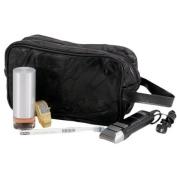 Large Genuine Black Leather Travel Kit Shaving Mens Toiletry Bag Mosaic Pattern