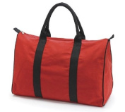 Red Canvas Duffel Bag/tote with Black Handles for Travelling and Beach Accessories