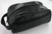Men's Black Leather Toiletry Bag/Men's Wash Bag