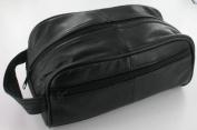 Men's Black Leather Toiletry Bag/Men's Wash Bag
