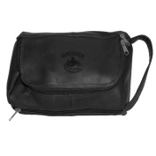NHL Vancouver Canucks Pangea Black Leather Deluxe Shaving Bag