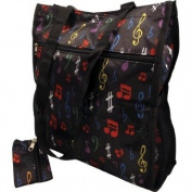 SATIN ZIP TOTE BAG W/ CHANGE PURSE MUSIC NOTES - BLACK