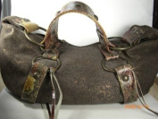 Stress Leather Bag with Shoulder Handle