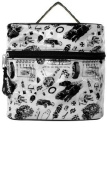 "White ""Vintage Rodder"" with Black Hot Rods, Tyres, Coils, and Racing Flags Train Case from Sourpuss Clothing"