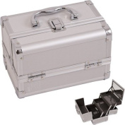 JustCase M1001 Cosmetic Makeup Train Case with Mirror and Easy Clean Extendable Trays, Silver Smooth