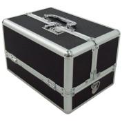 Makeup Cosmetic Aluminium Storage Case Box w/ Tiers Lockable Jewellery Bag Black
