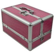 Makeup Cosmetic Aluminium Storage Case Box w/ Tiers Lockable Jewellery Bag Pink