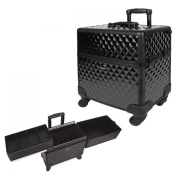 38.1cm 360 Rotation Black Diamond Design 2 Way Easy Slide Trays Aluminium Professional Makeup Artist Wheeled Rolling Cosmetic Travel Train Case Beauty Storage Organiser