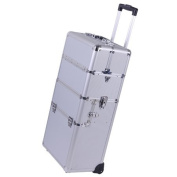 Professional Rolling Train Cosmetic Makeup Case Sliver