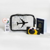 The Clear Bag Store TSA Compliant Carry on Travel Cosmetic Toiletry Bag Aeroplane Black