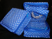 Cosmetic Organiser Jewellery Organiser Travel Pouch in Beautiful Blue Polka Dot Design Made with Quilted Cotton