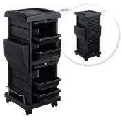 Premium Locking Rolling Trolley Cart with Pocket Inserts - Black
