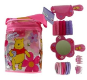 Disney Winnie the Pooh Beauty Hair Brush Pack - Hair Comb, Mirror, and More - Pink