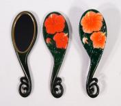 Handpainted Red Lily Flower Hair Brush Mirror Set