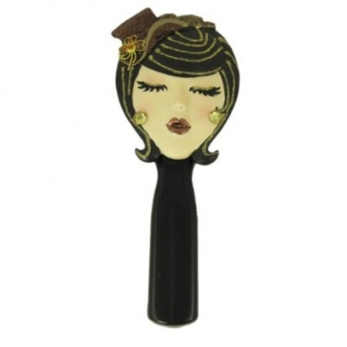 ". Hand Mirror Brunette Wearing Brown Hat ""Kiss Me"" 22.9cm L"