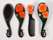 Handpainted Red Lily Flower Hair Brush Mirrow Comb Set
