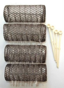 2 Pack (TOTAL 8 ROLLERS w/ 8 Pins) HAIR STYLING BRUSH ROLLERS & PINS Hair Curlers 7.6cm x 2.9cm Bristles