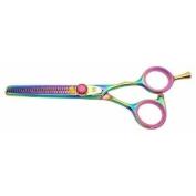 Kissaki Pro Hair Hataraki 28 tooth Rainbow Titanium Salon Thinning Shears Barber Scissors