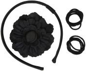 Gimme Clips Head Band & Flower Hair Clip Shadow, Dark Grey