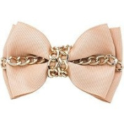 Karina - French Couture Bow & Chain Barrette - Beige #K10771X1