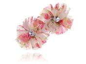 Girly Pink Cream Chiffon Flower Crystal Rhinestone Head Piece Barrette Hair Clip
