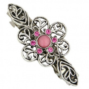 Pink Honeysuckle Silver Flower Barrette