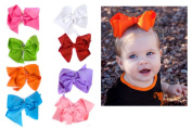 Set of 8 Extra Large 12.7cm Hair Bows in pink hot pink red white orange teal lime & purple
