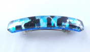 Turquoise Silver Black Venetian Murano Glass Hair Barrette