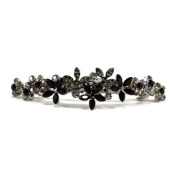 DoubleAccent Hair Jewellery Contrasting Crystal Flower Barrette Black Colour
